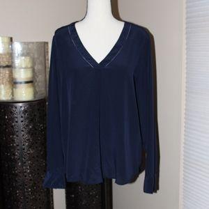 J. Crew navy blue, silk, long sleeve blouse